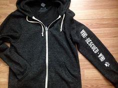 FTLA Apparel - Who Rescued Who - Eco Black Unisex Zip up Hoodie Sweatshirt