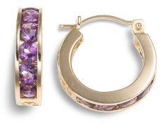 14k yellow gold channel-set amethyst hoop earrings