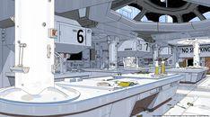 """""""Alien: Isolation concept art by Edouard Caplain """" Spaceship Interior, Spaceship Art, Futuristic Interior, Futuristic Art, Sci Fi Environment, Environment Design, Concept Art Tutorial, Alien Isolation, Landscape Artwork"""