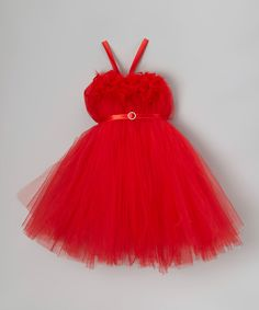 Look at this #zulilyfind! Bébé Oh La La Red Feather Bling Tutu Dress - Infant, Toddler & Girls by Bébé Oh La La #zulilyfinds