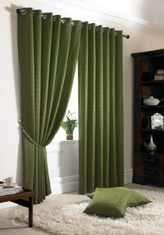 HEAVY JACQUARD CURTAINS Ready Made Pencil Pleat Fully Lined Curtain Green (  Olive Moss ) Curtain
