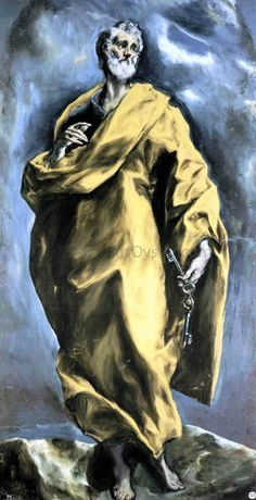 El Greco Saint Peter hand painted oil painting reproduction on canvas by artist Spanish Painters, Spanish Artists, Classic Paintings, Great Paintings, Holy Art, Art Ancien, Art Graphique, Sacred Art, Michelangelo