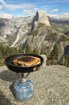 Grilled cheese with a view; and for the unitiated, in the distance would be the icon, otherwise known as Half Dome/Yosemite, Ca.