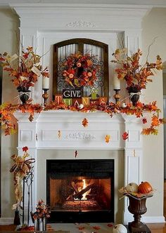 beautiful fall mantle & fireplace decor…the concept of falling leaves is too adorable. beautiful fall mantle & fireplace decor…the concept of falling leaves is too adorable. Decoration Evenementielle, Fall Mantel Decorations, Mantels Decor, Mantel Ideas, Halloween Decorations, Table Decorations, Thanksgiving Decorations Outdoor, Turkey Decorations, Christmas Decorations