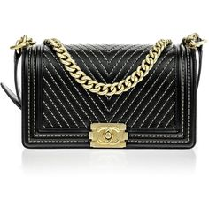 Pre-owned Chanel Black Calfskin Chain Detail Chevron Medium Boy Flap... ($6,250) ❤ liked on Polyvore featuring bags, handbags, chain strap purse, preowned handbags, chain purse, chanel bags and embroidered purse