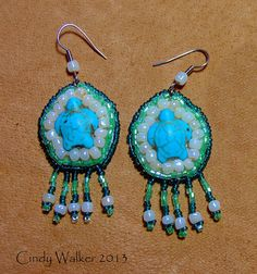 Turquoise Sea Turtle Earrings - Bead embroidered with Howlite turtles pierced wire hooks with bead dangles