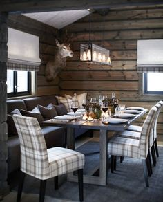 Modern rustic design, wood furnishings, plaid upholstered seating, wood wallcovering, pendant lighting- minus the taxidermy Cabin Homes, Log Homes, Chalet Design, Home Improvement Loans, Cabin Interiors, Cuisines Design, Rustic Design, Home Kitchens, Sweet Home