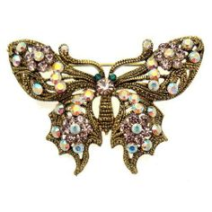 Acosta - Antique Gold Finished - Violet Crystal Butterfly Brooch Acosta Jewellery. $29.99