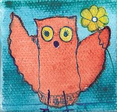 New Original Owl Mini Painting on Canvas by ElissaSueWatercolors, $18.00