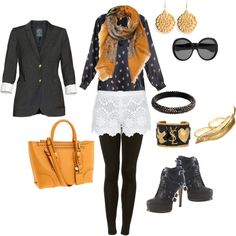 Tasteful play on Halloween color scheme! Remain chic accessorizing with a patterned scarf