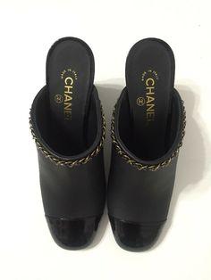 ea6cf73d2642 eBay  Sponsored Chanel Mules Heels Cap Toe Black Lambskin Womens Size 10  Made In Italy