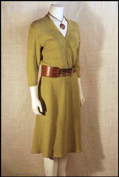 Vintage Green Knit Secretary A Line Mad Men Rockabilly Sweater Dress M. $30.00, via Etsy.