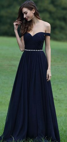 eDressit Off Shoulder Dark Blue Dress with Crystal Chain