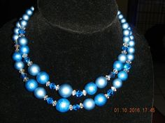 Vintage Faux Pearls & Glass Beads Double Strand Necklace Blue & White  #DoubleStrand