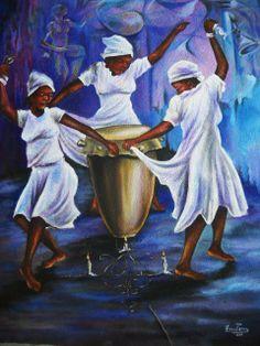 Praise HIm in a dance African Art Paintings, Dance Paintings, Black Art Painting, Black Artwork, Orishas Yoruba, Arte Do Kawaii, Haitian Art, Tribal African, Caribbean Art