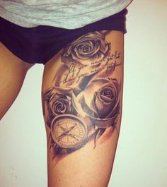 I would get this one on my left leg!! have the musical staff on my right and this on the left <3