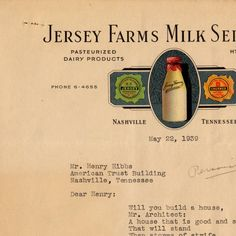 Jersey Farms letter to Henry C. Hibbs, 1939 May 22 :: Nashville Public Library Digital Collection