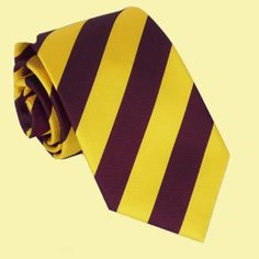 Yellow Maroon Stripes Formal Boys Ages 7-13 Wedding Straight Boys Neck Tie