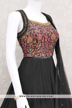 Dark wine pure georgette Indian designer gown from palkhi fashion with jacquard silk, thread embroidery, petite stone & cutdana handwork. Indian Gowns Dresses, Indian Fashion Dresses, Dress Indian Style, Indian Designer Outfits, Designer Gowns, Indian Outfits, Fashion Outfits, Indian Designers, Designer Clothing