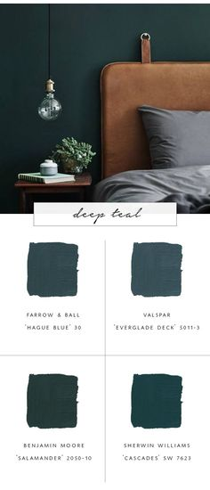 our top favorite paint colors for fall 2017 & deep teal & coco kelleyThe post Our Favorite Paint Color Trends for Fall 2017 & coco kelley appeared first on Dekoration. Green Paint Colors, Bedroom Paint Colors, Paint Colors For Home, House Colors, Color Blue, Blue Green, Teal Blue, Green Shades, Wall Paint Colours
