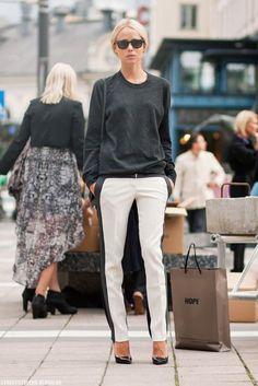 gray sweater aznd white pants