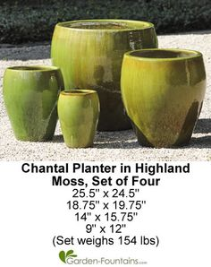 Chantal Planter Set Of 4 In Highland Moss Glazed Outdoor Planter Sets