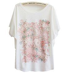 LS Cotton Hot Sale Beautiful Flowers Print Batwing Sleeve...