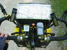 From Gateway to Ocean: The cockpit - bike computer, Garmin GPS, pepper spray, mirrors, map