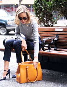 The Classy Cubicle : Office look in navy and mustard yellow