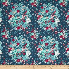 Designed for Art Gallery, this cotton print fabric is perfect for quilting, apparel and home decor accents. Art Gallery Fabric features 200 thread count of finely woven cotton. Colors include red, peach, blue, aqua and white on a navy background.
