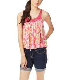 Floral Print Crochet Tank from Aeropostale