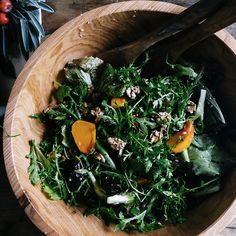 Chicory Salad with Persimmons, Pomegranates, and Walnuts - Delicious Thanksgiving Salads - Sunset Thanksgiving Vegetables, Thanksgiving Salad, Fall Vegetables, Thanksgiving Side Dishes, Thanksgiving Recipes, Fall Recipes, Veggies, Healthy Recipes, Pumpkin Recipes