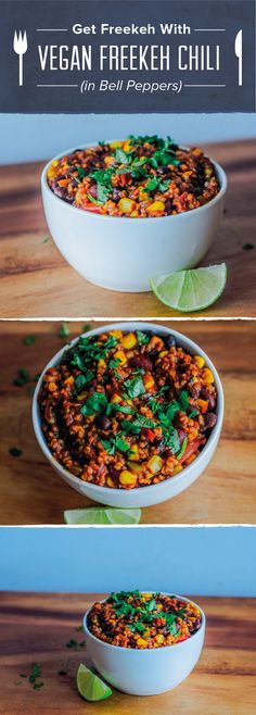 """Two myths to dispel:  1. As a meat eater, you can actually find a lot of inspiration from vegan meals since you can simply add your choice of """"animal"""" protein if desired. 2. You CAN build muscle and lose weight on a vegan diet.   Here is one of my new favorite recipes, just in time for the cold weather – vegan chili with freekeh. #fitmencook #fitwomencook #vegan #chili #healthy #cleaneating"""