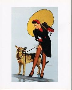 "Elvgren Pin Up Girl ""Skirting Trouble""   A girl and her dog!"