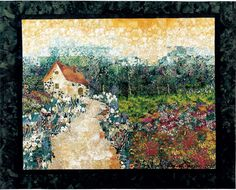 Cottage Garden art quilt by Lenore Crawford