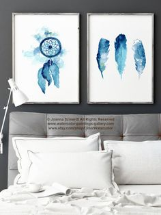 Dream Catcher Set of 2 Watercolor Painting by ColorWatercolor