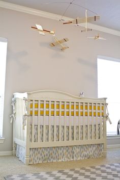 Love this airplane themed boys room!