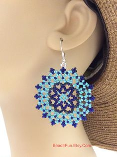"""Seed bead Medallion Beaded Earrings, Circlular Peyote Earrings, """"Mixed Messages"""" by on Etsy Bead Jewellery, Seed Bead Jewelry, Seed Bead Earrings, Blue Earrings, Unique Earrings, Seed Beads, Beaded Jewelry, Jewellery Making, Beaded Necklace"""