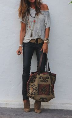 Fashionista style - **** Stitch Fix Spring Summer 2017 inspiration! Loving the adorable boho vibe of this outfit with grey off the shoulder top, chunky accessories and skinny jean! Such a great look! Try S(Off The Shoulder Top) Mode Outfits, Fall Outfits, Casual Outfits, Fashion Outfits, Womens Fashion, Fashion Blogs, Fashion Trends, Fashion Ideas, Fashion Styles