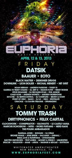 Euphoria Music Festival, a global gathering of electronic dance music artists and fans, April 12-13, 2013, Whitewater Amphitheater, New Braunfels, Texas.