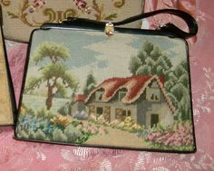 vintage needlepoint cottage purse by ohairas, via Flickr