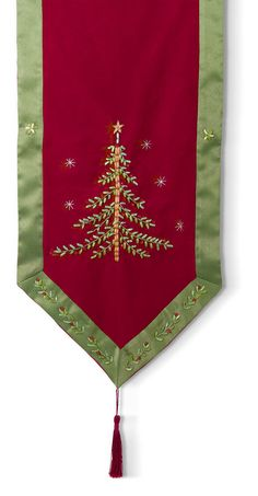 Grasslands Road luxurious tablerunner crafted with rich burgundy lustrous polyester featuring acrylic beads and ribbon embroidery of an elegant Christmas tree and holly motif on silky green boarder with tassles on both ends #GrasslandsRoad #DeckTheHalls