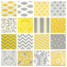 PICK 2 FABRICS - 2 Decorative Pillow Covers - THROW Pillows - 18 x 18 inches- Yellow and Gray. $30.00, via Etsy.