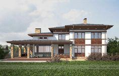 Проект дома в стиле райта Вид на террасу