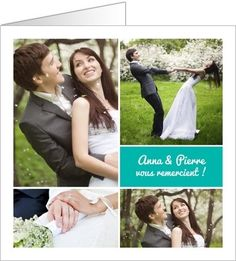 carte de remerciements mariage multiphotos bleu disponible en 4 formats et 3 coloris bleu - Remerciement Mariage Personne Absente