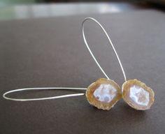 Mini Tabasco Geode Sterling Earrings Tan & White by AnneMaaDesigns, $124.00