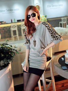 Free Shipping Hot sale 2014 Fashion Women's Sweaters Leopard Printed Pullovers Black&white&Gray Autumn And Spring #1690