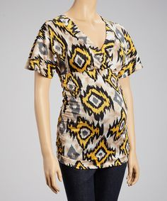 Take a look at this Yellow Abstract Maternity V-Neck Top - Women on zulily today!