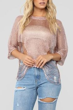 ff8e7bf0 Rose Gold Diva Sweater - Gold/Rose Stretch Satin, Stretch Denim, Denim Mini