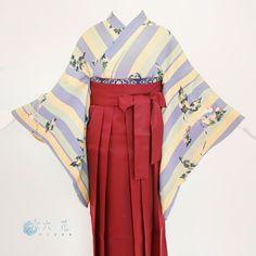 卒業式 袴コーディネート  アンティーク紫×黄色ストライプ着物  着物レンタル・着付け・ヘアメイク・撮影